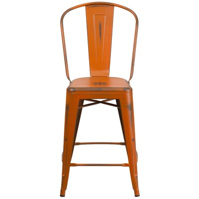 Dovercliff 24.25 Bar Stool Finish: Distressed Orange