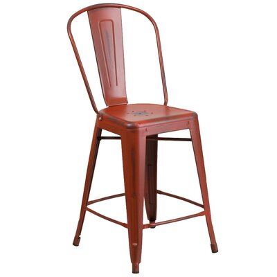 Dovercliff 24 Bar Stool Finish: Distressed Kelly Red