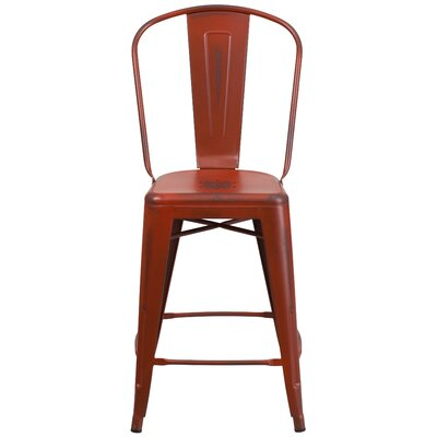 Dovercliff 24.25 Bar Stool Finish: Distressed Kelly Red