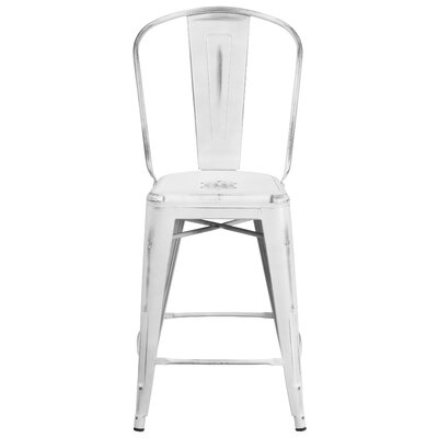 Dovercliff 24.25 inch Bar Stool Finish: Distressted White