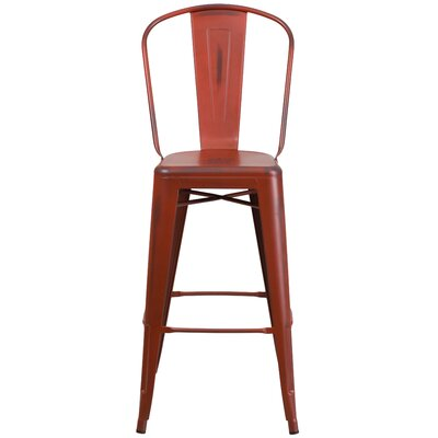 Cercis 30 Bar Stool Finish: Distressed Kelly Red