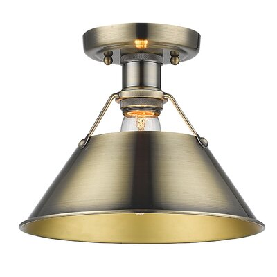 Weatherford 1-Light Semi Flush Mount Finish: Aged Brass, Shade Color: Aged Brass
