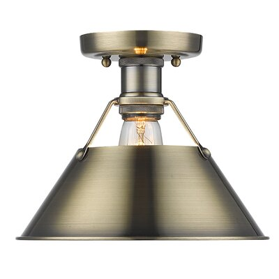 Weatherford 1-Light Semi Flush Mount Finish: Pewter, Shade Color: Pewter