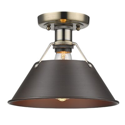 Weatherford 1-Light Semi Flush Mount Finish: Aged Brass, Shade Color: Rubbed Bronze