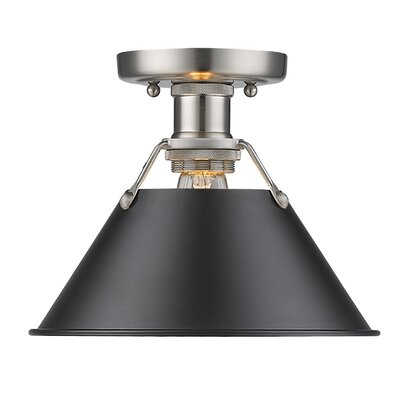 Weatherford 1-Light Semi Flush Mount Shade Color: Black, Finish: Pewter