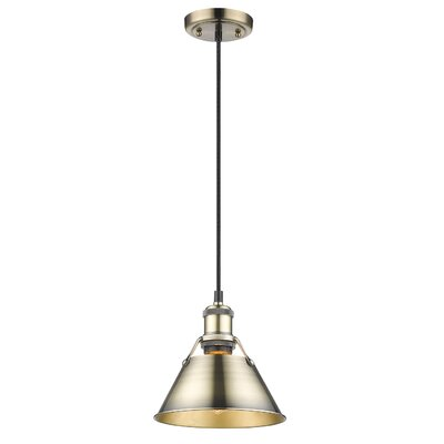 Weatherford 1-Light Mini Pendant Finish: Aged Brass, Shade Color: Aged Brass, Size: 7 H x 7 W x 7 D
