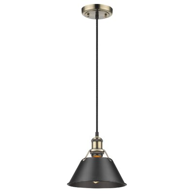 Weatherford 1-Light Large Pendant Finish: Aged Brass, Shade Color: Black, Size: 7 H x 7 W x 7 D