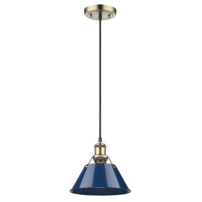 Weatherford 1-Light Mini Pendant Finish: Aged Brass, Shade Color: Navy Blue, Size: 10