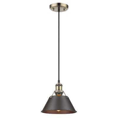Weatherford 1-Light Large Pendant Finish: Aged Brass, Shade Color: Rubbed Bronze, Size: 7