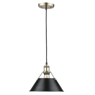 Weatherford 1-Light Mini Pendant Finish: Aged Brass, Shade Color: Black, Size: 8.5 H x 10 W x 10 D