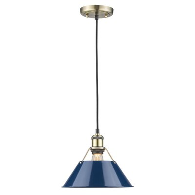 Weatherford 1-Light Mini Pendant Finish: Aged Brass, Shade Color: Navy Blue, Size: 8.5 H x 10 W x 10 D