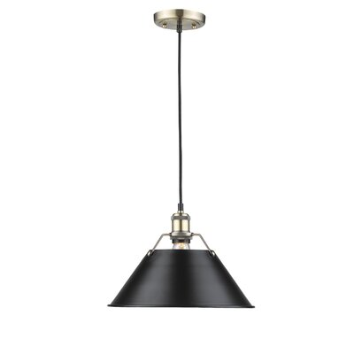 Weatherford 1-Light Mini Pendant Finish: Aged Brass, Size: 10 H x 14 W x 14 D, Shade Color: Black