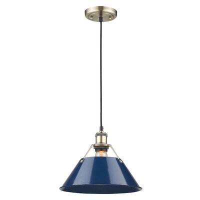 Weatherford 1-Light Mini Pendant Finish: Aged Brass, Size: 10 H x 14 W x 14 D, Shade Color: Navy Blue