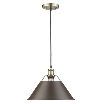 Weatherford 1-Light Mini Pendant Finish: Aged Brass, Size: 10 H x 14 W x 14 D, Shade Color: Rubbed Bronze