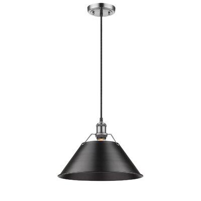 Weatherford 1-Light Mini Pendant Size: 10 H x 14 W x 14 D, Shade Color: Black, Finish: Pewter