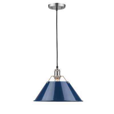 Weatherford 1-Light Mini Pendant Size: 10 H x 14 W x 14 D, Shade Color: Navy Blue, Finish: Pewter