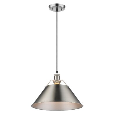 Weatherford 1-Light Large Pendant Finish: Pewter, Shade Color: Pewter, Size: 7 H x 7 W x 7 D