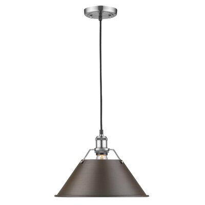 Weatherford 1-Light Mini Pendant Size: 10 H x 14 W x 14 D, Shade Color: Rubbed Bronze, Finish: Pewter