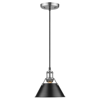 Weatherford 1-Light Large Pendant Finish: Pewter, Shade Color: Black, Size: 7 H x 7 W x 7 D