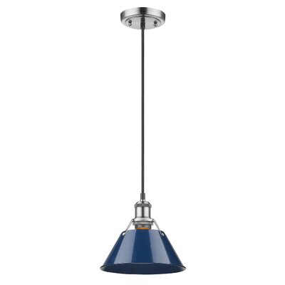 Weatherford 1-Light Large Pendant Finish: Pewter, Shade Color: Navy Blue, Size: 7 H x 7 W x 7 D
