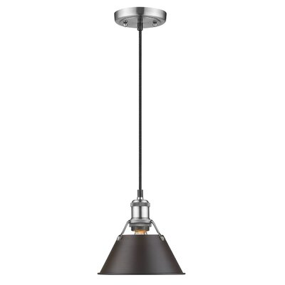 Weatherford 1-Light Large Pendant Finish: Pewter, Shade Color: Rubbed Bronze, Size: 8.5