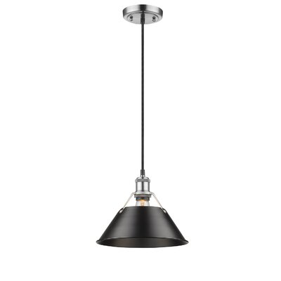 Weatherford 1-Light Mini Pendant Shade Color: Black, Finish: Pewter, Size: 8.5 H x 10 W x 10 D