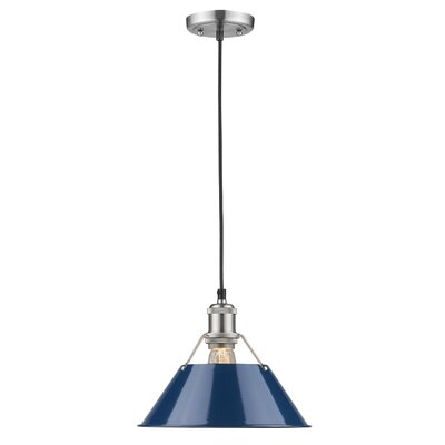 Weatherford 1-Light Mini Pendant Shade Color: Navy Blue, Finish: Pewter, Size: 8.5 H x 10 W x 10 D