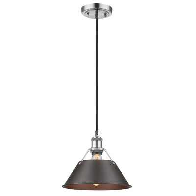 Weatherford 1-Light Mini Pendant Shade Color: Rubbed Bronze, Finish: Pewter, Size: 8.5 H x 10 W x 10 D
