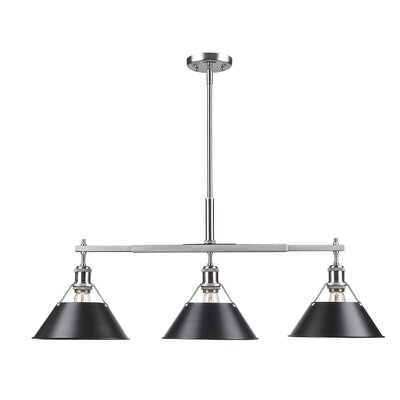 Weatherford Linear 3-Light Kitchen Island Pendant Shade Color: Black, Finish: Pewter