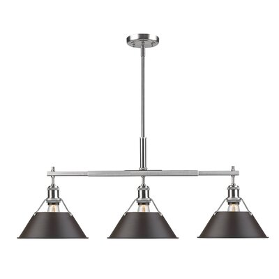 Weatherford Linear 3-Light Kitchen Island Pendant Finish: Pewter, Shade Color: Rubbed Bronze