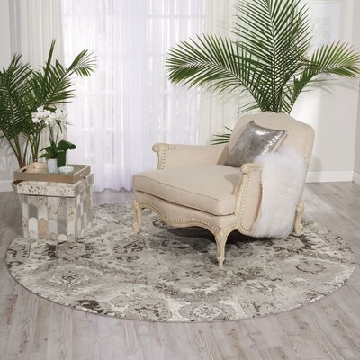 South Aurora Ivory/Gray Area Rug Rug Size: Round 8 x 8
