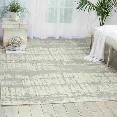 South Aurora Ivory/Gray Area Rug Rug Size: 79 x 99
