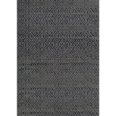 Waller Pavers Black/Gray Indoor/Outdoor Area Rug Rug Size: 53 x 76