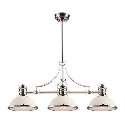 Westlake Village 3-Light Billiard/Kitchen Island Pendant Finish / Shade Color: Polished Nickel / White