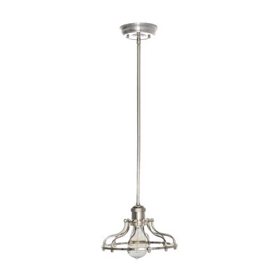 Archie Industrial 1-Light Pendant Finish: Satin Nickel, Bulb: Included