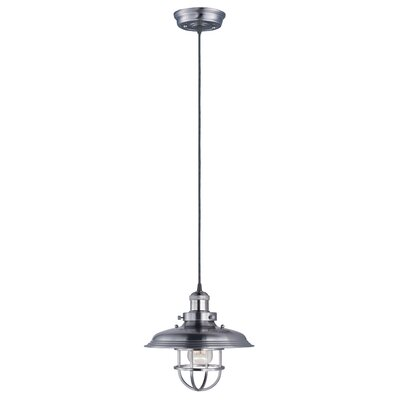Archie Industrial 1-Light Metal Pendant Bulb: Not Included, Finish: Satin Nickel