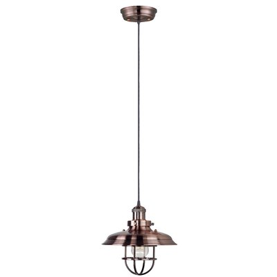 Archie Industrial 1-Light Metal Pendant Bulb: Included, Finish: Satin Nickel