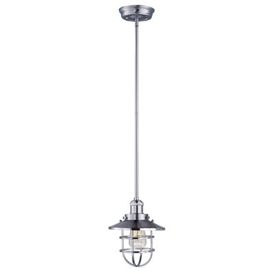 Archie Adjustable 1-Light Pendant Bulb: Included, Finish: Satin Nickel