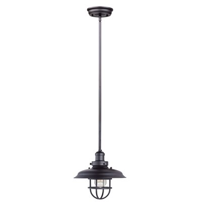Archie Adjustable 1-Light Metal Pendant Bulb: Included, Finish: Bronze