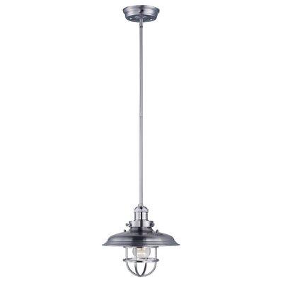 Archie Adjustable 1-Light Metal Pendant Bulb: Included, Finish: Satin Nickel