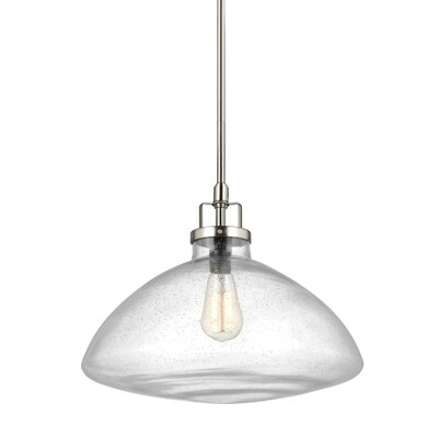 Panorama Point 100W 1-Light Schoolhouse Pendant Finish: Brushed Nickel