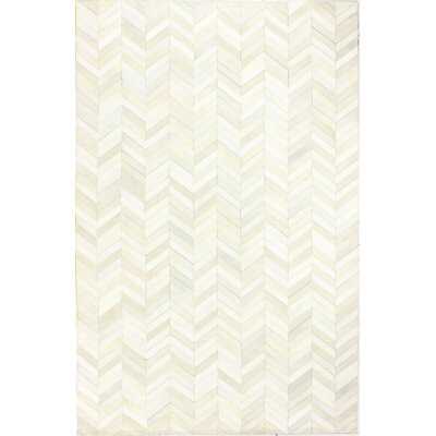 Wright Cow Hide White Area Rug Rug Size: 5 x 8