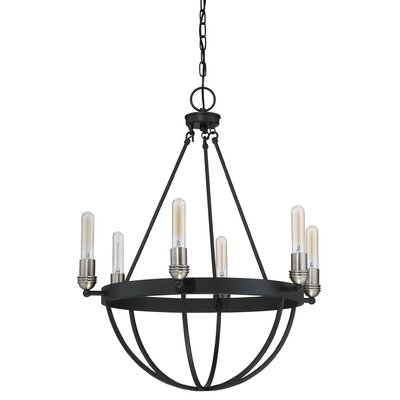 Suzana Earth Black6-Light Shaded Chandelier