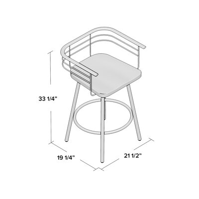 Tungsten 26 Swivel Bar Stool Base Finish: Glossy Grey, Upholstery: Light Gray