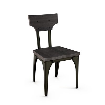 Mariana Solid Wood Dining Chair Frame Finish: Black/Gray, Seat Finish: Gray