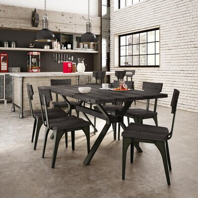 Emerson 7 Piece Dining Set Top Finish: Medium Dark Gray Distressed Birch, Base Finish: Semi-transparent Gun Metal Finish