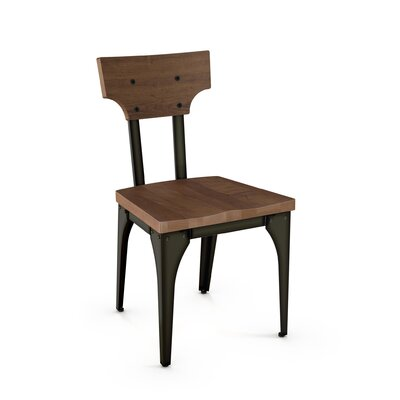 Mariana Solid Wood Dining Chair Frame Finish: Black/Brown, Seat Finish: Brown