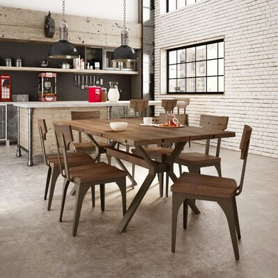 Emerson 5 Piece Dining Set Top Finish: Medium Brown Distressed Birch, Base Finish: Semi-transparent Gun Metal Finish