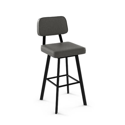 Cloran 26 Swivel Textured Black Bar Stool Color: Matte Dark Gray, Upholstery: Warm Gray Polyurethane