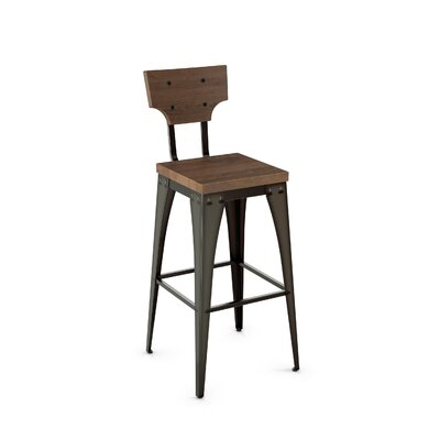 Clarkedale 26 inch Bar Stool Finish: Black/Brown